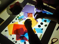 cutting colored cellophane, contact paper & beads and light...(part 1)