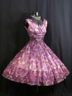 Vintage 1950's Lilac Mauve Floral Chiffon Organza Party Dress: