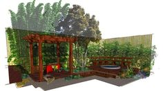 www.RedBerm.com | Zen Garden design perspectives and plan to screen and shelter the spa.