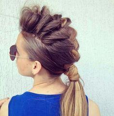 faux hawk braided women long hair - Google Search