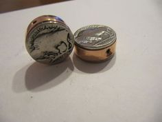 HANDMADE COPPER PIPE BUFFALO NICKEL BEADS (10) 3D COIN JEWELRY