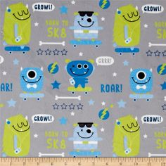 Minky SK8 Monsters Grey from @fabricdotcom  This ultrasoft minky fabric with a 1.6mm pile is perfect for apparel, blankets, throws, pillows and stuffed animals. Colors include shades of grey, blue, white and green.