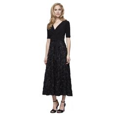 Tea-Length Rosette Party Dress With Matte Jersey Bodice,  Elbow Sleeves and Tie Belt – Welcome | Alex Evenings