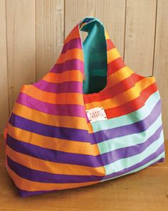 DIY Large Tote Bag - Free Japanese sewing pattern. Learn how to translate and sew Japanese patterns at www.japanesesewingpatterns.com