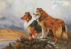 Two Collies Above a Lake - Cross Stitch Chart - Click Image to Close