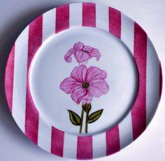 Aparelho Flores - prato sobremesa rosa