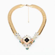 Free Shipping New Inspired Crystal Resin Beads Fresh Charm Statement Necklace Women Chunky Width Chain Jewelry Gift Golden Tone $10,34