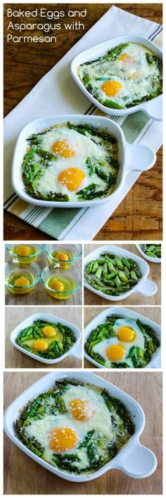 Baked Eggs and Asparagus with Parmesan is a real treat for breakfast, and this recipe has a few simple tricks to make sure your eggs turn out just the way you like them.  This would be lovely to make for guests.  #LowCarb #GlutenFree [from KalynsKitchen.com] #EggRecipes