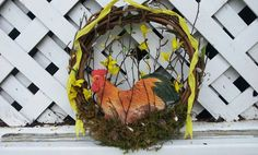 Roosting Chicken Wreath Chicken Decor Chicken Art by HomeDecor4All, $32.00