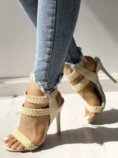 Hot Summer Knitted Ankle Strap Peep-toe Heeled Sandals We Miss Moda is a leading Women's Clothing Store. Offering the newest Fashion and Trending Styles. Chunky Sandals, Cute Sandals, Pretty Sandals, Pretty Toes, Strap Sandals, Peep Toe Heels, Shoes Heels, Heeled Sandals, Vans Shoes