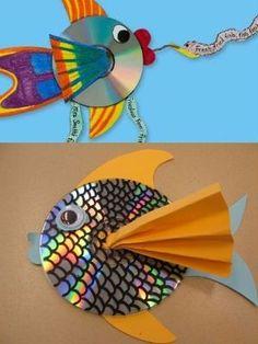 Ideas para hacer #peces #decorativos con #cds viejos  #HOWTO #DIY #reducir #reciclar #reutilizar