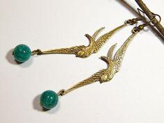 Bird Earrings  Bronze  With Green Dragons by MURPHYSTREASURES2, $12.95