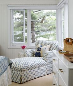 Cottage Bedroom. Cottage Bedroom with chaise in blue and white fabric. #Cottage…
