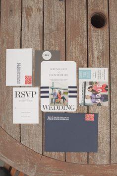 navy and white nautical wedding invitation inspiration #weddinginvites #nauticalwedding #weddingchicks http://www.weddingchicks.com/2014/01/29/seaside-wedding-3
