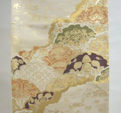 """$1120 Gorgeous Fan Wave Pattern Obi Sash. Japanese old traditional pattern called """"Shosoin Yukiwa Seigaiha"""", a kind of """"Shosoin Pattern"""". """"Shosoin"""" is a historical warehouse that stored emperor's treasures about 8th century. Their patterns were influenced by Roma, Persia, India, and China. Partly woven with gold string In addition to the use of traditional Obi band on Kimono, you can arrange it for an interior and a table runner Made in Kyoto, Japan. Silk 80%, Polyester 10%, Rayon 10%"""