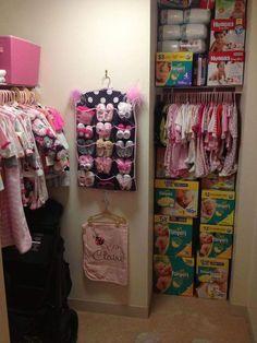 Nursery Organization Shoes - Top And Wonderful Baby Shoe Organizer Ideas Baby Closet Organization, Organizing Baby Stuff, Organization Ideas, Closet Storage, Baby Life Hacks, Baby Storage, Baby Clothes Storage, Nursery Storage, Baby Girl Nurserys