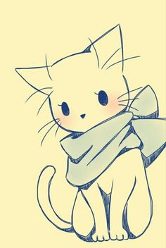 16 Trendy ideas for drawing cute animals sketches kawaii Pet Anime, Anime Animals, Anime Art, Cute Animals, Kawaii Drawings, Cool Drawings, Pencil Drawings, Drawings Of Cats, Cat Cartoon Drawing