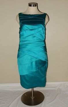 Tadashi Collection Teal Tiered Bodycon Stretch Satin Cocktail Dress Size 16 #TadashiCollection #Cocktail