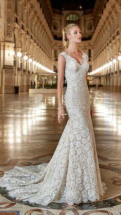 eddy k milano bridal 2017 sleeveless vneck lace sheath wedding dress (md198) mv train