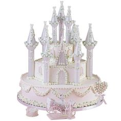 A Fairytale Romance Cake - Adorned with garlands of icing flowers, this cake is fit for a prince and princess! This tiered cake design is embellished with the Romantic Castle Cake Set.