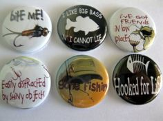Fishing button magnet set / 116 by Getagripmagnets on Etsy, $7.50