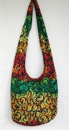 GREEN FLORA GRAPHIC PRINT HOBO BAG hippie sling purse crossbody shoulder
