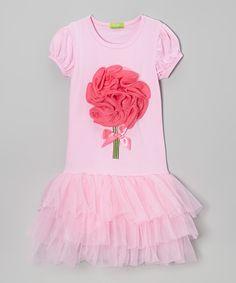 Sweet Bluette Pink & Dark Pink Rosette Tutu Puff-Sleeve Dress - Toddler & Girls | zulily