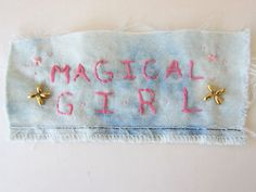 MAGICAL GIRL Pink Embroidered & Beaded Sew-On Denim Patch -- Girl Power, Riot Grrrl, Bishoujo Anime Girl Patch #manga #sailormoon #sakura #pink #pastelpink
