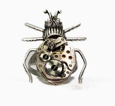 Steampunk Ring Beetle with movement listing R18 by MizzMechanique, $65.00