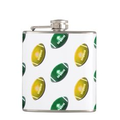 Green and Gold Football Pattern Hip Flasks
