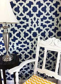 Thinking about doing this to the first small wall when ya walk into my apartment... Cutting Edge Stencils - Zamira Allover Stencil