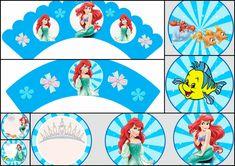 Toppers y Wrappers para Cupcake de La Sirenita para imprimir Gratis. - Dale Detalles