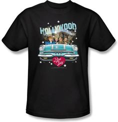 Lucy Shirt - Hollywood Road Trip Adult Black T-shirt I Love Lucy Shirts---  It's a classic TV Road Trip!