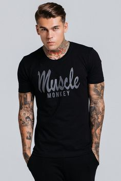 muscle monkey muscle fit scripted tee - black