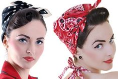 Rockabilly hairstyle - http://scarves.comtesse-sofia.fr/how-to-tie-scarf-in-turban (English, French, Spanish, Portuguese)
