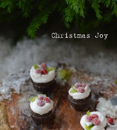 Miniature chocolate cupcakes with sugar rolled cherries and mint.. Perfect for a little Christmas Joy!  Etsy: Cynthia's Cottage Shop
