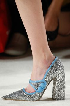 Who says a pointy toe has to have a slender heel? Not Mrs. Prada. Miu Miu - Fall 2015