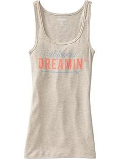 Women's Graphic Perfect Rib-Knit Tanks | Old Navy