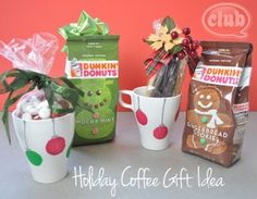 Enjoy the sweet smell of the holidays in a yummy cup of jo this season. Pair one of these holiday flavored coffees from Dunkin' Donuts with a hand decorated coffee mug, and you have an instant holiday gift idea for your favorite coffee drinker. Easily decorate and personalize a coffee mug with this cute holiday design and pair with a bag of yummy holiday flavored coffee like Mocha Mint or Gingerbread cooke.