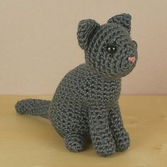 An original crochet amigurumi Single-Coloured Cat pattern from the AmiCats range by June Gilbank.