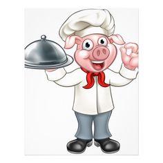 Cartoon Chef Pig Character Letterhead Custom office supplies #business #logo #branding