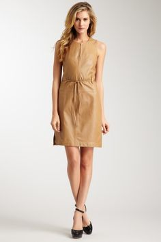Leather belted dress