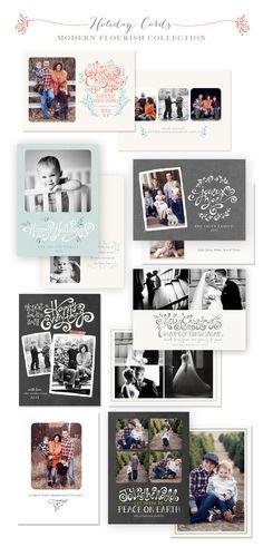 2013 Modern Flourish Holiday Card Templates by Jamie Schultz Designs