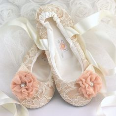 Hey i found this really awesome etsy listing at httpsetsy lace bridal flats ballerina slippers in champagne ivory and blush with chiffon and crystal jewels cute for delilah and flower girl mightylinksfo Choice Image