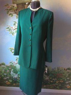 Le Suit  Green Long Sleeve women Skirt Suit Size 12 NWT #LeSuit #SkirtSuit