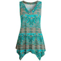 Miusey Womens Sleeveless V Neck Summer Flowy Tunic Tank Tops ($9.99) ❤ liked on Polyvore featuring tops, sleeveless tops, blue sleeveless top, blue top, no sleeve tops and v neck camisole top
