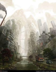 Waterfall City by Luis Melo   2D   CGSociety via PinCG.com