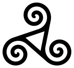 A triskelion or triskele is a motif consisting of three interlocked spirals, or three bent human legs, or any similar symbol with three protrusions and a threefold rotational symmetry. Both words are from Greek