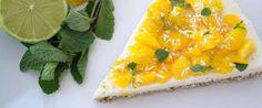 Tropische Philadelphia cheesecake met mango, kokos, limoen en munt - Eerlijker Eten