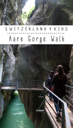 """Aare Gorge is long alpine river gorge with icy blue water and interesting curved formations on the bordering rock walls. Kids can look for the gorge's mascot, a """"tunnel"""" worm, and his The Places Youll Go, Places To Go, Switzerland Vacation, Swiss Travel, Park Playground, New Adventures, Public Transport, The Rock, Places To Travel"""
